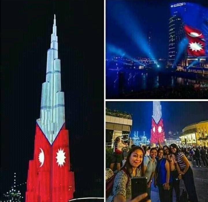 दुबईको विश्वकै अग्लो बुर्ज खालिफा टावरमा नेपालको झण्डा फहरायो